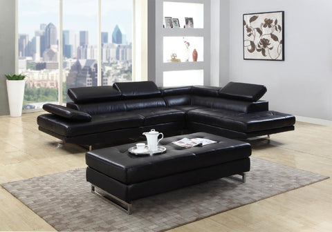 sectional With Adjustable Headrests, in Black