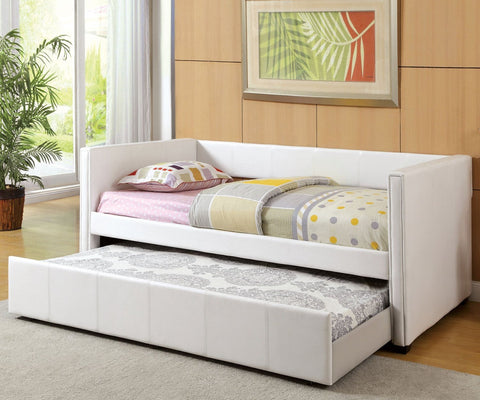 Modern Leatherette Daybed With Trundle, White