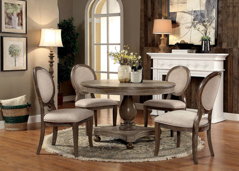 Kathryn Round Dining Set, Rustic Dark Oak