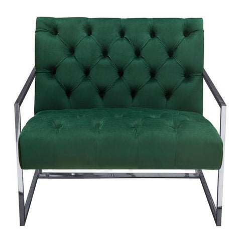 Luxe Accent Chair with Polished Stainless Steel Frame, Emerald
