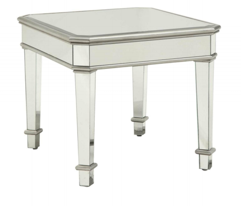 Mirrored Square End Table