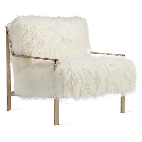 Faux Fur Champagne Metal Frame Chair (choose your Fabric)