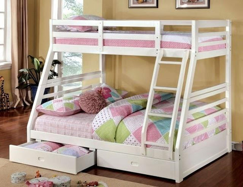 California White Finish Twin/full Bunk Bed W/ 2 Drawers
