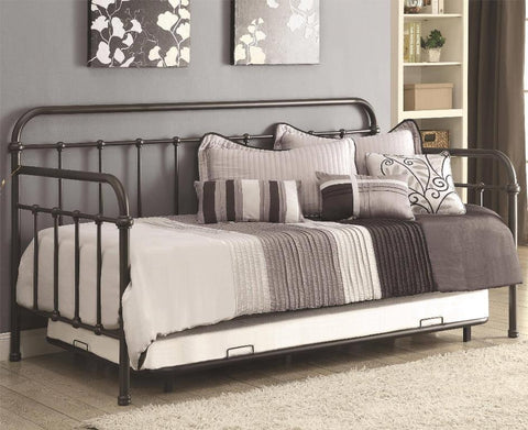 Metal Daybed with Trundle, Dark Bronze