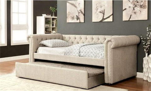 Tufted Daybed With Trundle, Beige