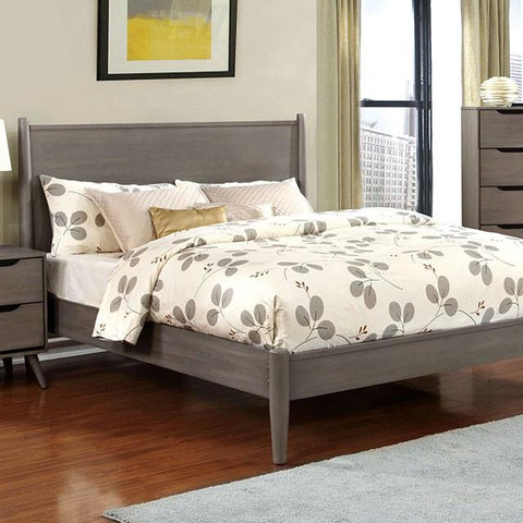 Mid Century Bed, Gray