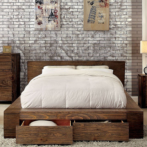 JANEIRO Low Profile bed - Rustic Natural