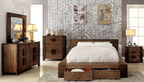 JANEIRO 4 Pc Bedroom Set- Rustic Natural