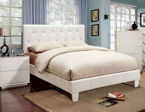 Velen Padded Leatherette Platform Bed ( Available in WHite or Black)