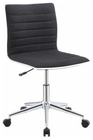 Dex Modern Fabric and Chrome Swivel Office Chair, Black