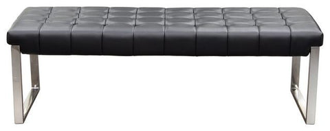 Hermez tufted Black leatherette bench