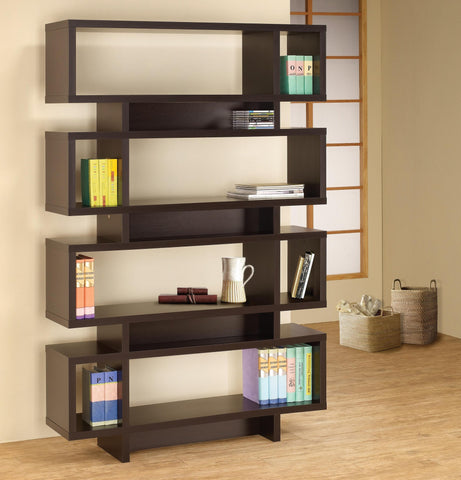 Modern Four Tier Bookcase, in Cappuccino