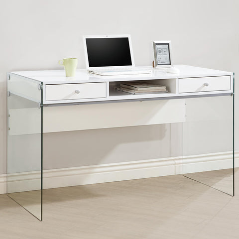 Contemporary Desk with transparent glass sides, White
