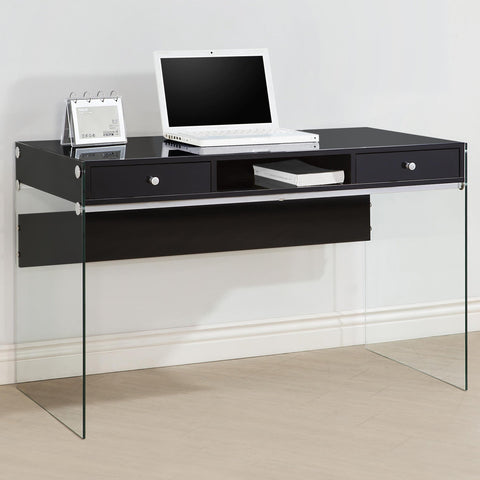 Contemporary Desk with transparent glass sides, Black