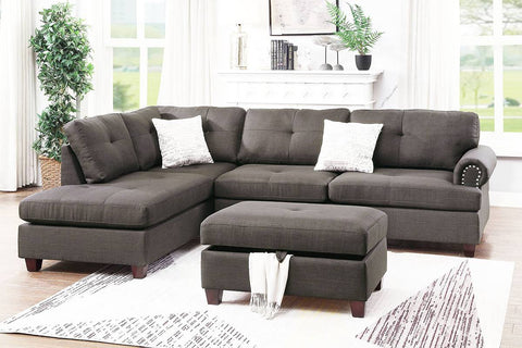 Ash Black Sectional Sofa with Storage Ottoman