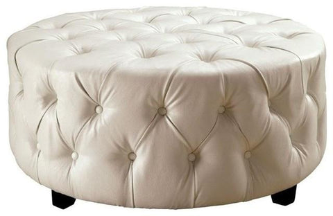 Tufted Round Ottoman, in white bonded leather