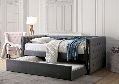 Susanna Tufted Daybed With Trundle, Gray