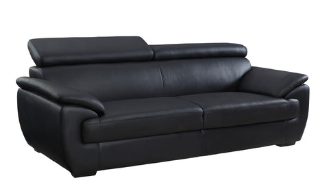 Contemporary Premium Leather Match Sofa - Black