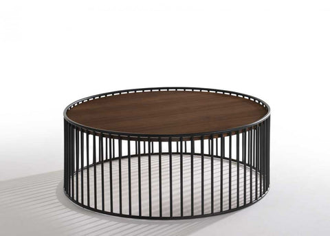 Bronson Modern Walnut & Black Round Coffee Table