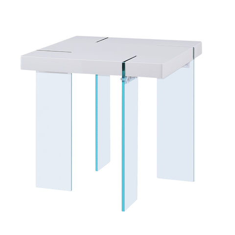 Noland White High Gloss and Glass End Table