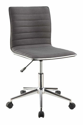 Dex Modern Fabric and Chrome Swivel Office Chair, Grey