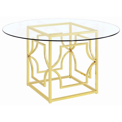 Evianna Modern Brass Metal Round Dining Table