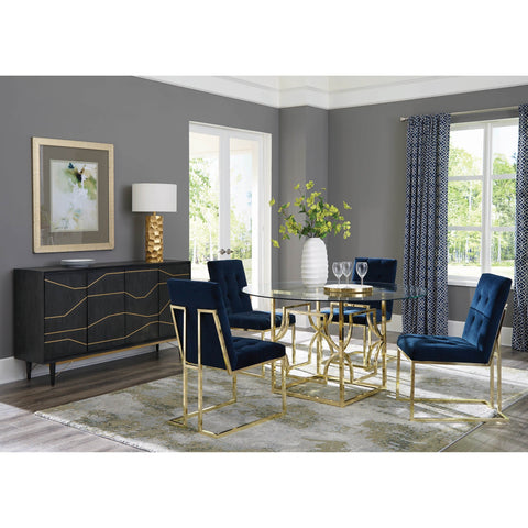 Evianna Modern Brass Metal Round Dining Set