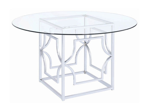 Evianna Modern Chrome Metal Dining Table