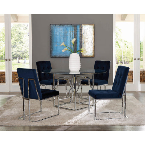 Evianna Modern Chrome Metal Dining Set