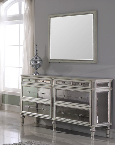 Emory Antique Cream with Mirrored Dresser & Mirror