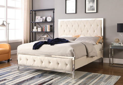 Upholstered Tufted Panel Bed -Beige