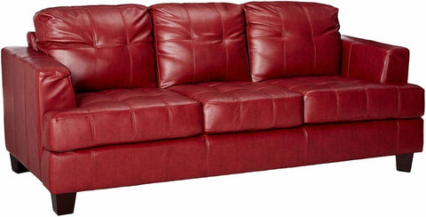 Samuel Contemporary Leather Sofa - Red