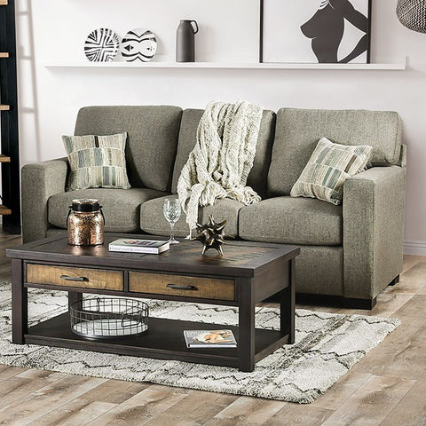 Teresa Transitional Fabric Sofa -Light Grey