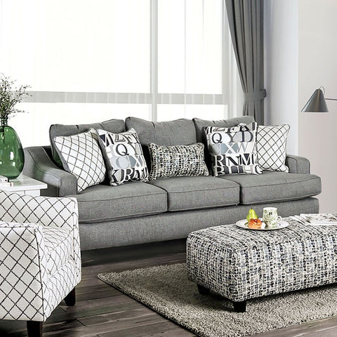 Verne Modern Fabric Sofa- Blue Grey