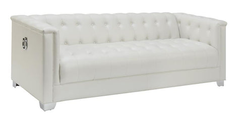 Pearl White Leatherette Tufted Sofa