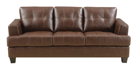 Samuel Contemporary Leather Sofa - Brown