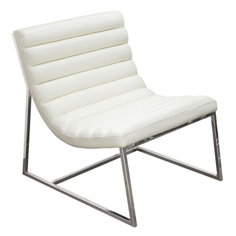 Bardot White Premium Bonded Leather Lounge Chair