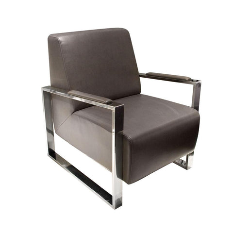 Century Elephant Grey Premium Bonded Leather Accent Chair