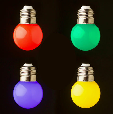 Mixed Colour Pack 24v G45 1watt SMD LED Polycarbonate bulb*