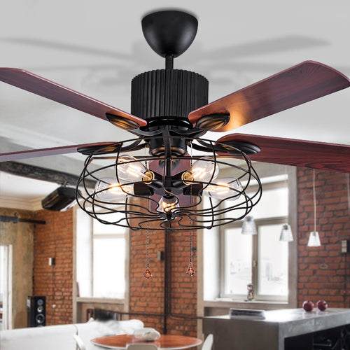 high quality Loft fan chandelier retro dining room household electric fan mute LED remote leaf fan lamp