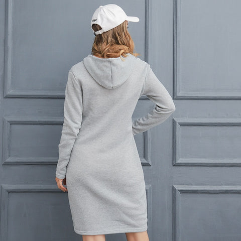Long-sleeved Hooded Collar Pocket Dress