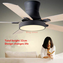 Load image into Gallery viewer, Nordic Creative Ceiling Ceiling Fans 5 Blad Solid Wood Fan Ceiling Fans Lamps With Lights For Living Room home LED dimming light