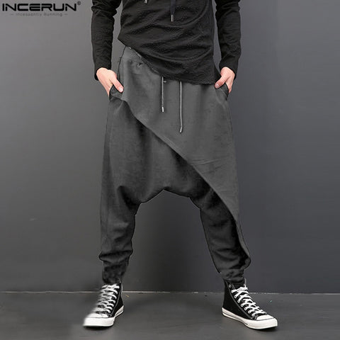 Men Deep Crotch Trousers Joggers