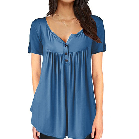 V Neck Short Sleeve Tops