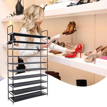 Load image into Gallery viewer, Assembly 10 Tiers Non-woven Shoe Rack
