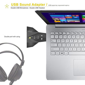 USB Sound Adapter External Stereo