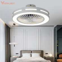 Load image into Gallery viewer, Modern Ceiling Fan Lights Dining Room Bedroom Living remote control Fan Lamps Invisible Ceiling Lights Fan Lighting Small Office