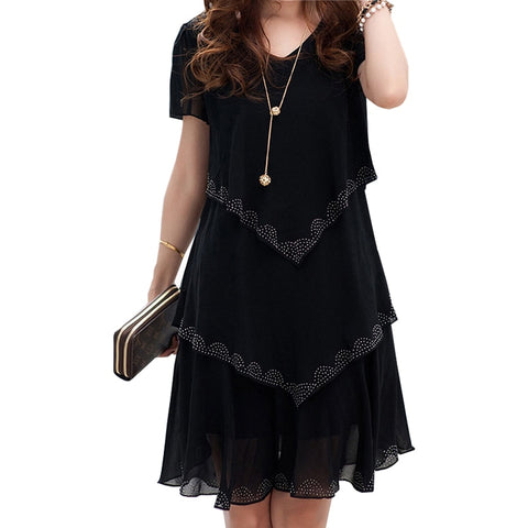 Plus Size Women Chiffon Dress
