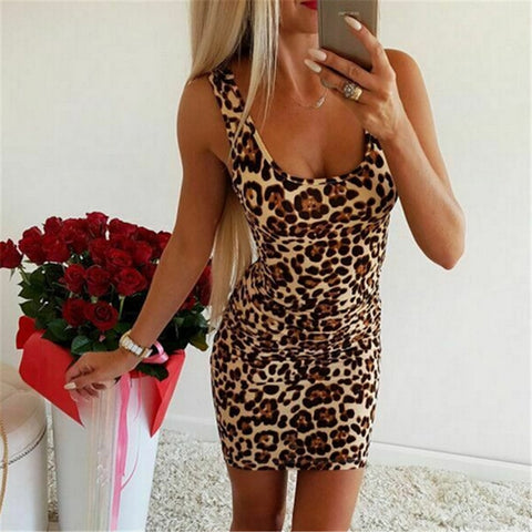 Women Summer Leopard Print Mini Dress