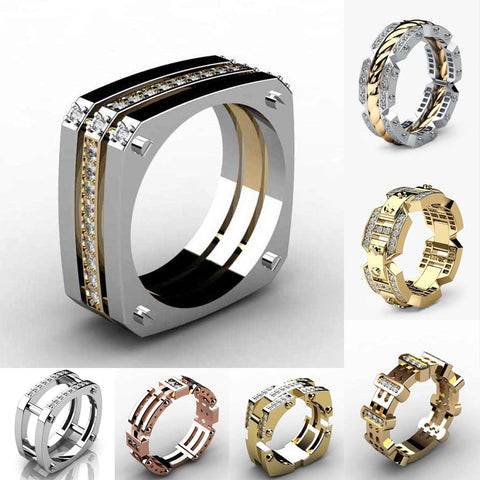 Huitan Punk Hiphop Series Mens Ring Band